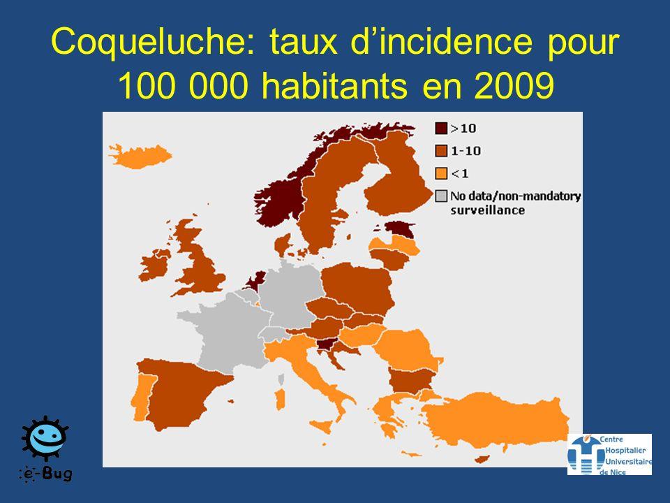 Coqueluche: taux dincidence pour 100 000 habitants en 2009