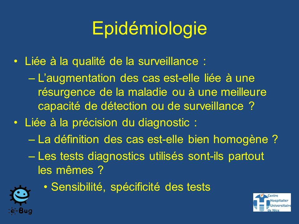 Epidémiologie Liée à la qualité de la surveillance : –Laugmentation des cas est-elle liée à une résurgence de la maladie ou à une meilleure capacité de détection ou de surveillance .