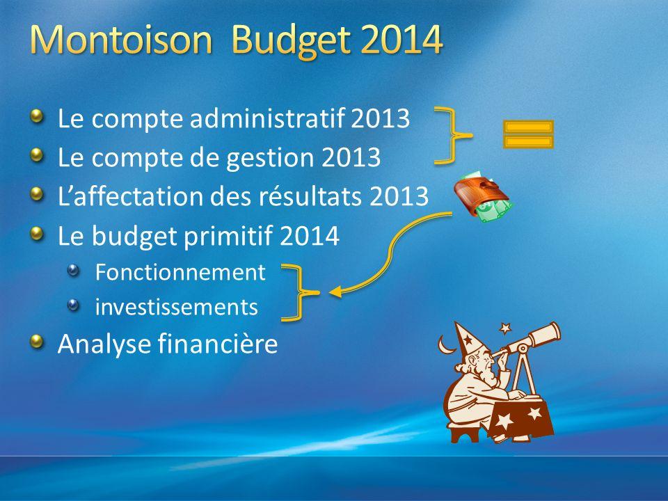 Le compte administratif 2013 Le compte de gestion 2013 Laffectation des résultats 2013 Le budget primitif 2014 Fonctionnement investissements Analyse