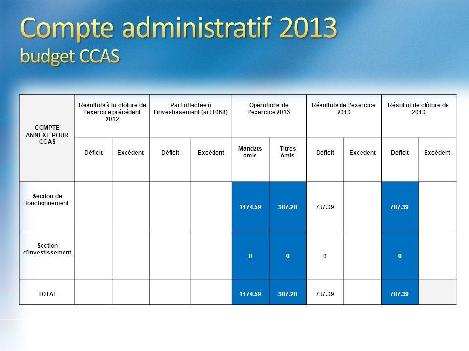272 419,20 COMPTE ANNEXE POUR CCAS Résultats à la clôture de lexercice précédent 2012 Part affectée à linvestissement (art 1068) Opérations de lexerci