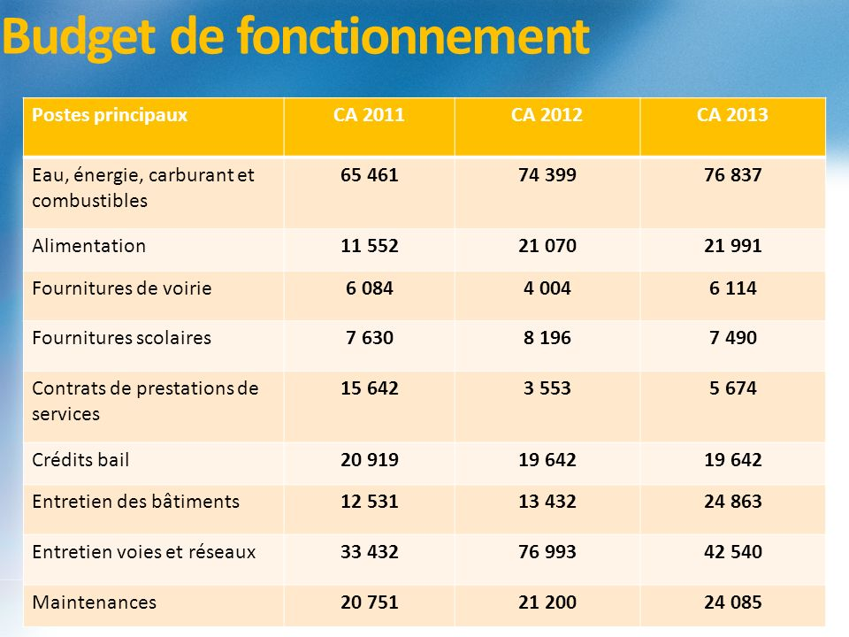 Budget de fonctionnement Postes principauxCA 2011CA 2012CA 2013 Eau, énergie, carburant et combustibles 65 46174 39976 837 Alimentation11 55221 07021