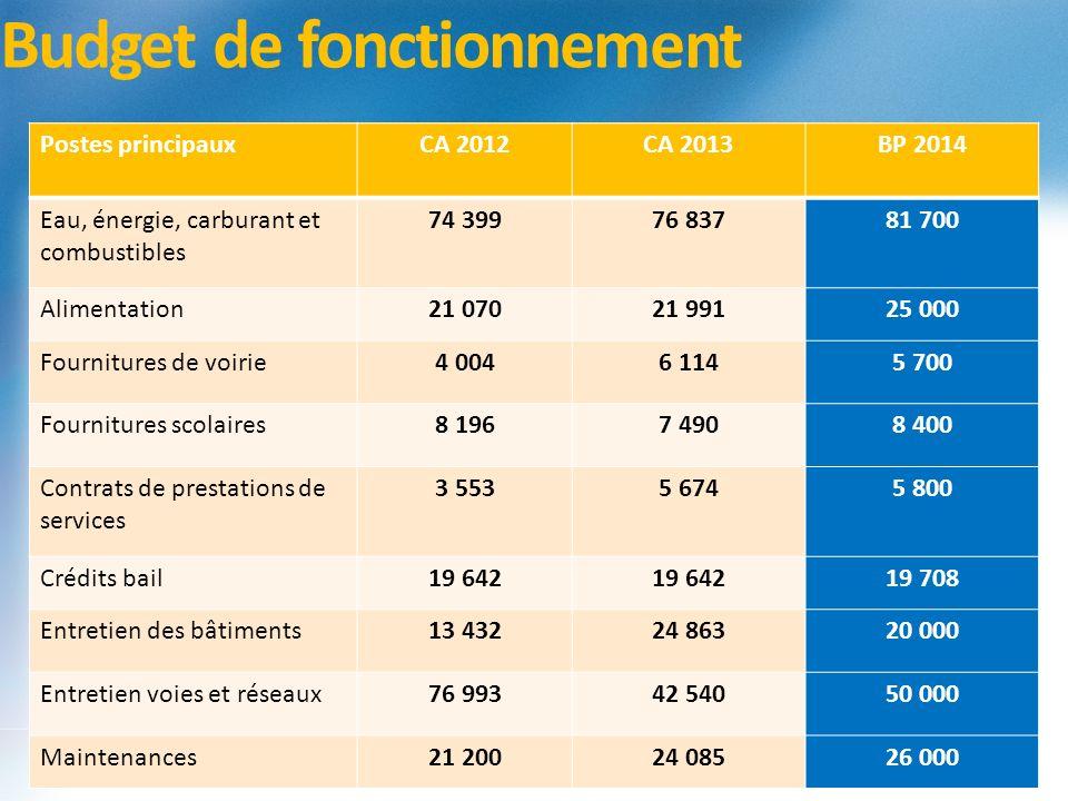 Budget de fonctionnement Postes principauxCA 2012CA 2013BP 2014 Eau, énergie, carburant et combustibles 74 39976 83781 700 Alimentation21 07021 99125