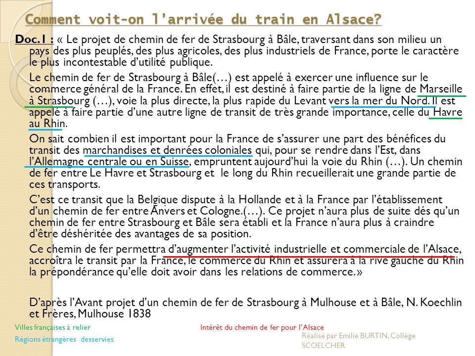 Comment voit-on larrivée du train en Alsace.
