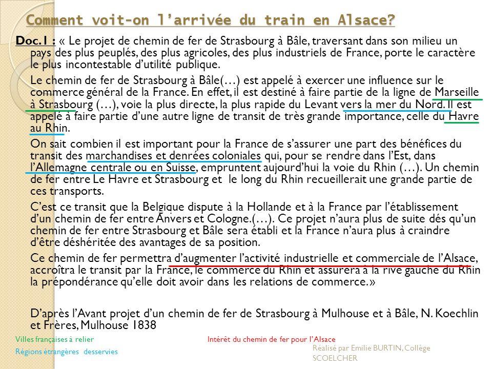 Le chemin de fer moyen de développer le commerce et lindustrie Strasbourg MulhouseBâle...