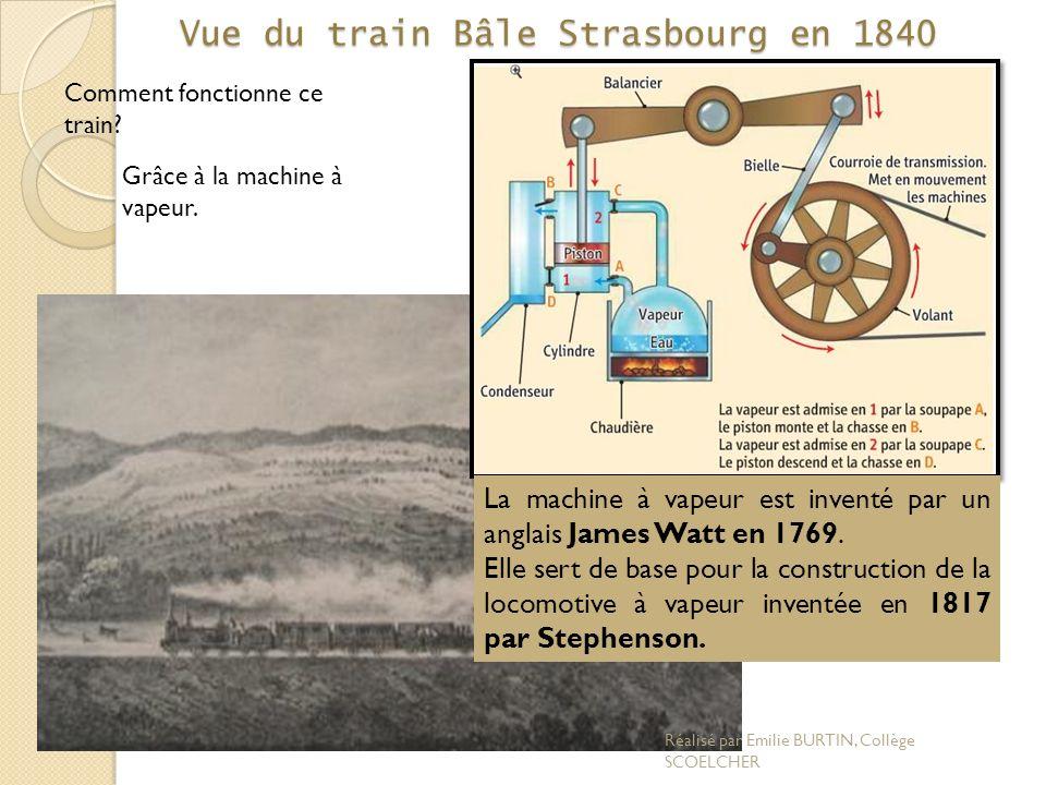 Vue du train Bâle Strasbourg en 1840 Comment fonctionne ce train? Grâce à la machine à vapeur. La machine à vapeur est inventé par un anglais James Wa