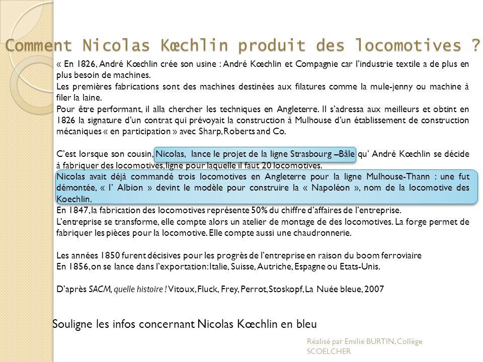 Comment Nicolas Kœchlin produit des locomotives ? « En 1826, André Kœchlin crée son usine : André Kœchlin et Compagnie car lindustrie textile a de plu