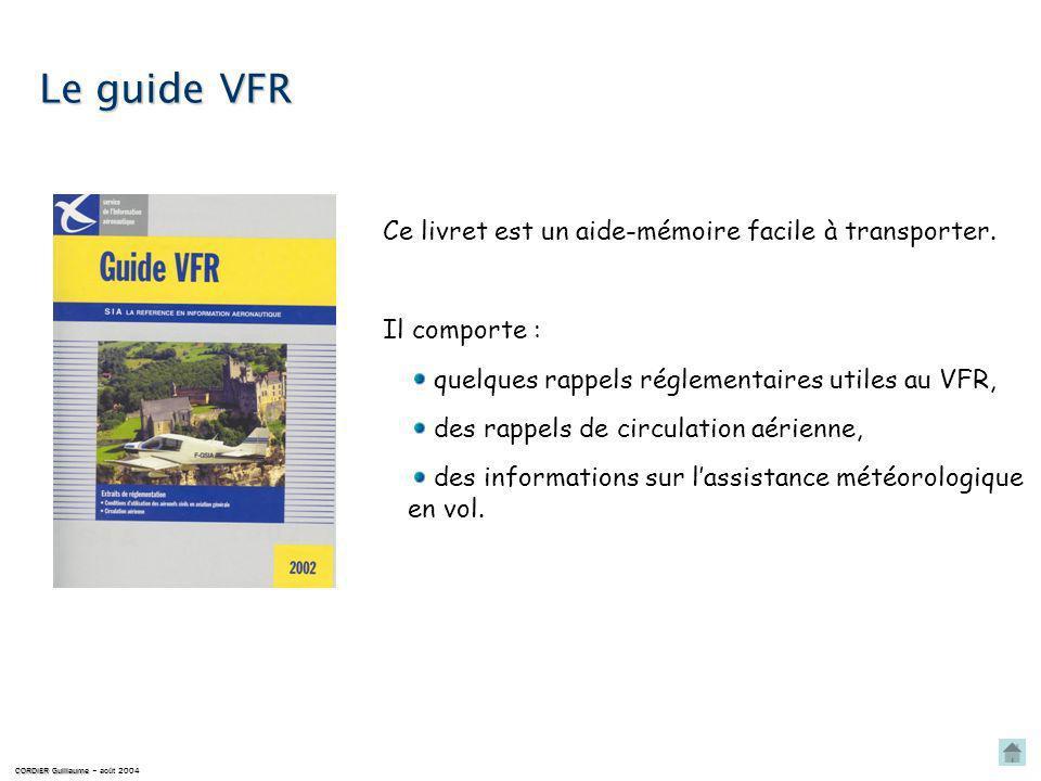 Le guide VFR Ce livret est un aide-mémoire facile à transporter.