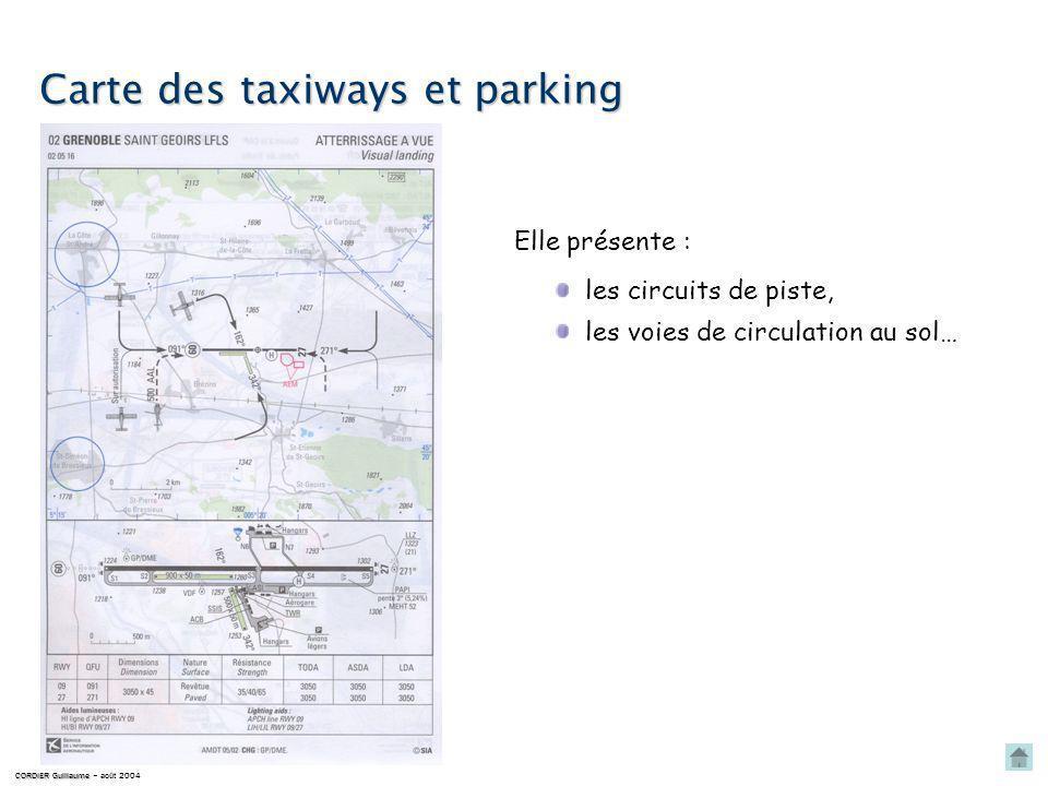Carte des taxiways et parking CORDIER Guillaume CORDIER Guillaume – août 2004 les circuits de piste, Elle présente : les voies de circulation au sol…