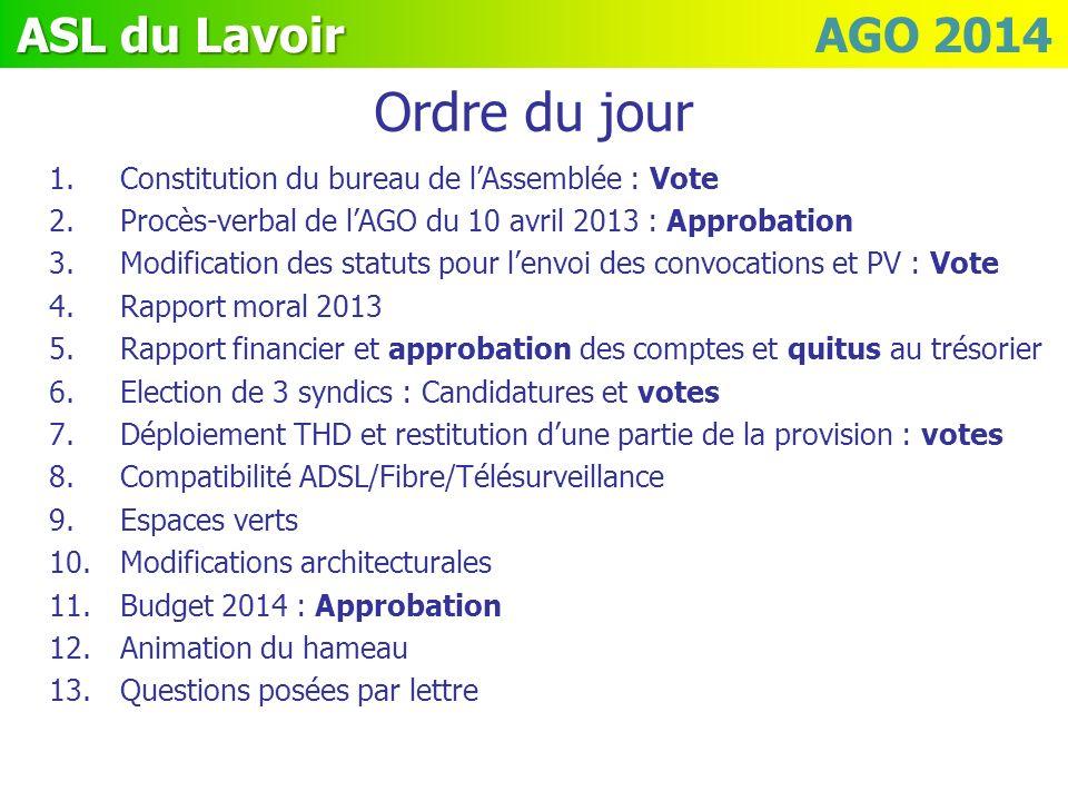 ASL du Lavoir ASL du Lavoir AGO 2014 Ordre du jour 1.Constitution du bureau de lAssemblée : Vote 2.Procès-verbal de lAGO du 10 avril 2013 : Approbatio