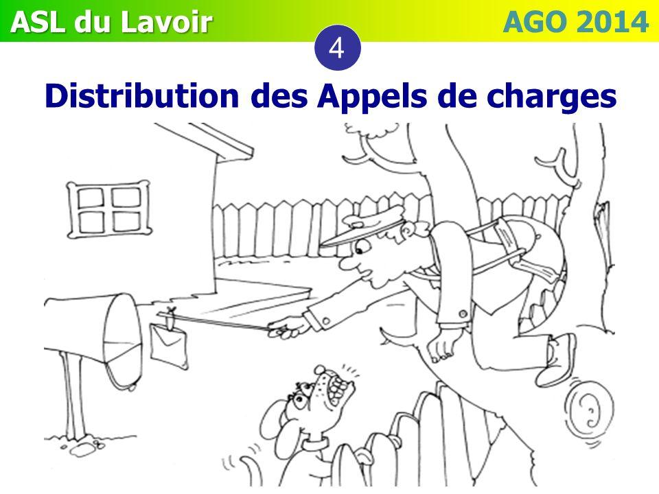 ASL du Lavoir ASL du Lavoir AGO 2014 4 Distribution des Appels de charges