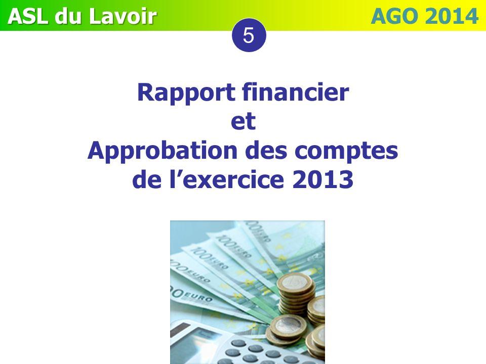 ASL du Lavoir ASL du Lavoir AGO 2014 5 Rapport financier et Approbation des comptes de lexercice 2013