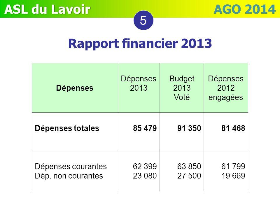 ASL du Lavoir ASL du Lavoir AGO 2014 Dépenses Dépenses 2013 Budget 2013 Voté Dépenses 2012 engagées Dépenses totales85 47991 350 81 468 Dépenses coura