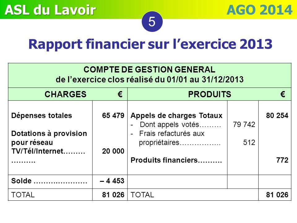 ASL du Lavoir ASL du Lavoir AGO 2014 COMPTE DE GESTION GENERAL de lexercice clos réalisé du 01/01 au 31/12/2013 CHARGES PRODUITS Dépenses totales Dota