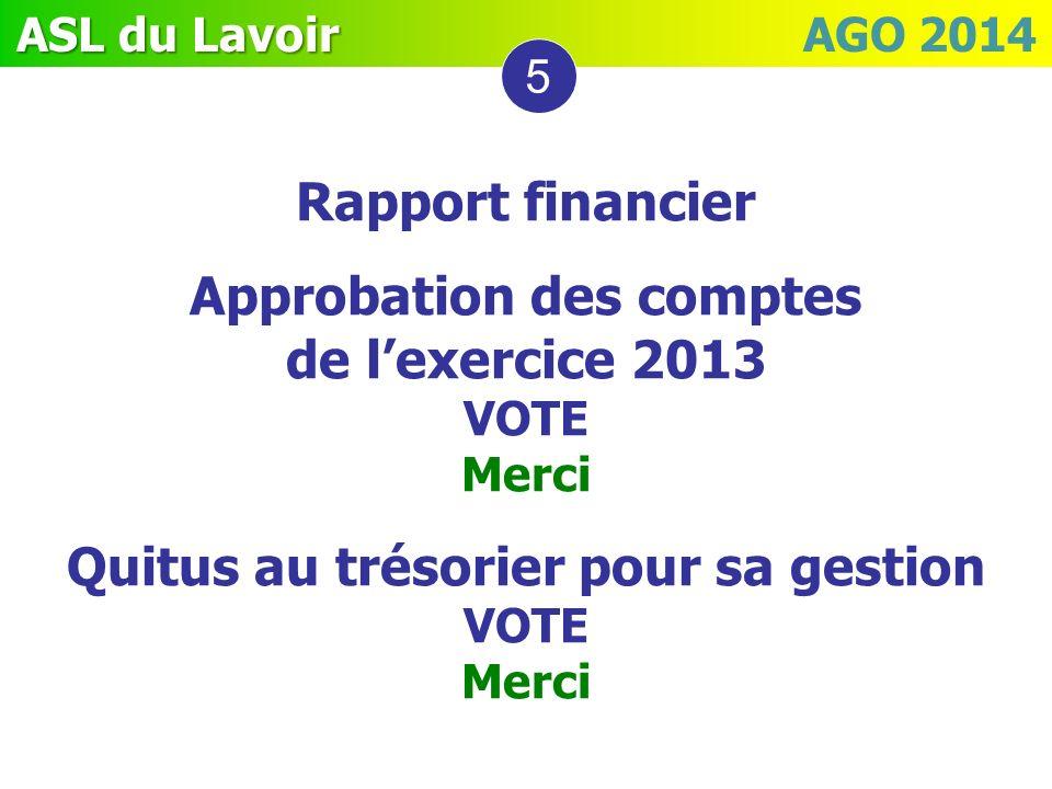 ASL du Lavoir ASL du Lavoir AGO 2014 5 Rapport financier Approbation des comptes de lexercice 2013 VOTE Merci Quitus au trésorier pour sa gestion VOTE