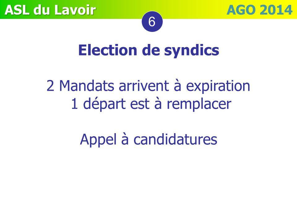 ASL du Lavoir ASL du Lavoir AGO 2014 6 Election de syndics 2 Mandats arrivent à expiration 1 départ est à remplacer Appel à candidatures