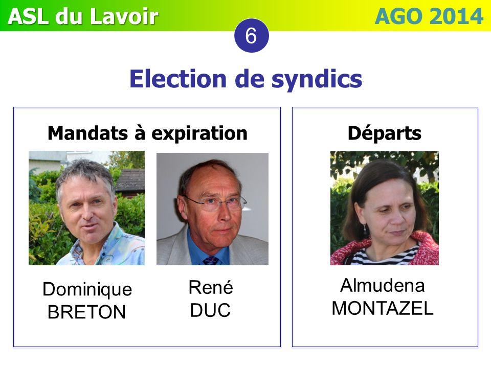 ASL du Lavoir ASL du Lavoir AGO 2014 Mandats à expiration Départs Election de syndics 6 Dominique BRETON René DUC Almudena MONTAZEL