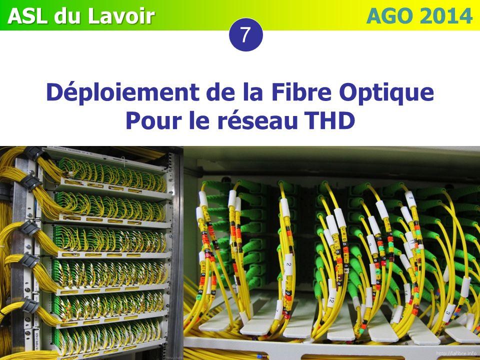 ASL du Lavoir ASL du Lavoir AGO 2014 7 Déploiement de la Fibre Optique Pour le réseau THD