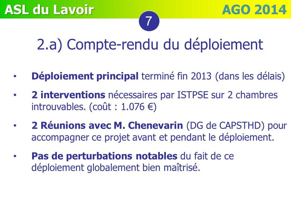 ASL du Lavoir ASL du Lavoir AGO 2014 2.a) Compte-rendu du déploiement Déploiement principal terminé fin 2013 (dans les délais) 2 interventions nécessa
