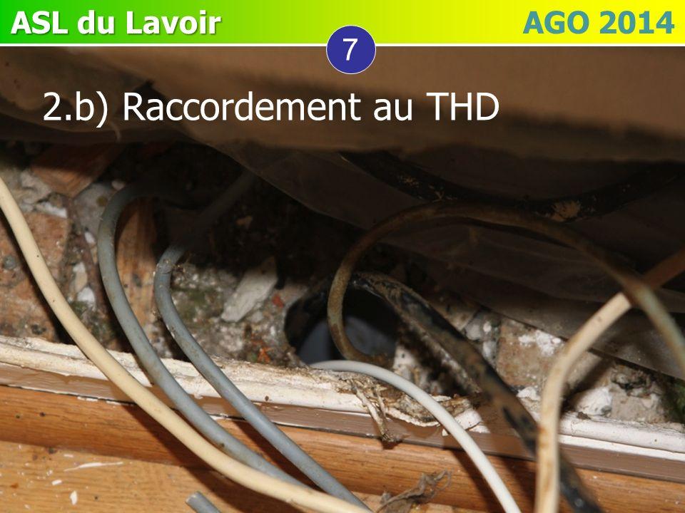 ASL du Lavoir ASL du Lavoir AGO 2014 7 2.b) Raccordement au THD