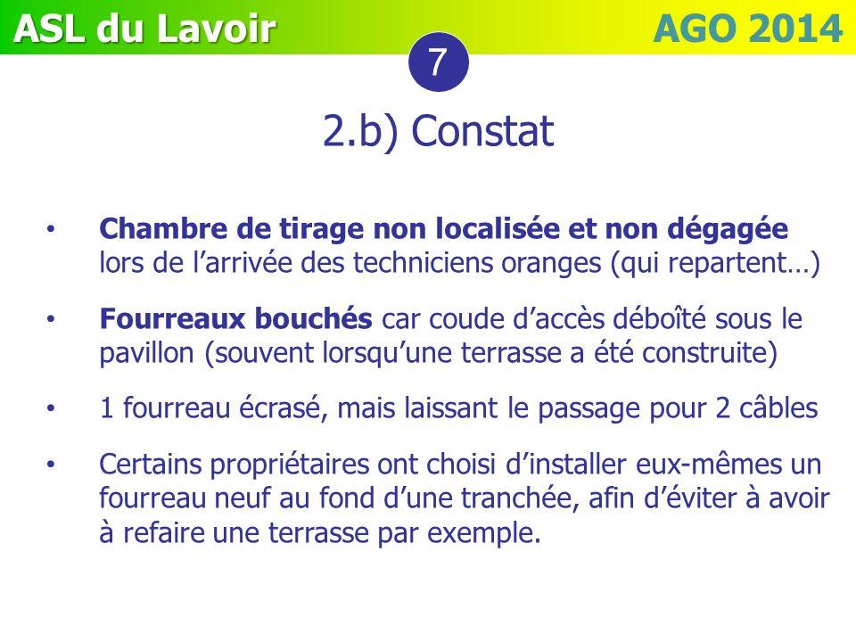 ASL du Lavoir ASL du Lavoir AGO 2014 7 2.b) Constat Chambre de tirage non localisée et non dégagée lors de larrivée des techniciens oranges (qui repar