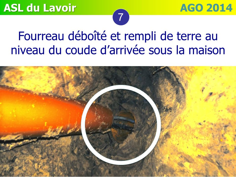 ASL du Lavoir ASL du Lavoir AGO 2014 7 Fourreau déboîté et rempli de terre au niveau du coude darrivée sous la maison