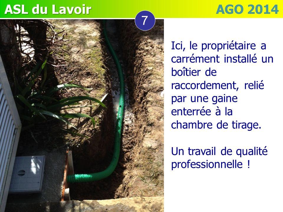 ASL du Lavoir ASL du Lavoir AGO 2014 7 Ici, le propriétaire a carrément installé un boîtier de raccordement, relié par une gaine enterrée à la chambre