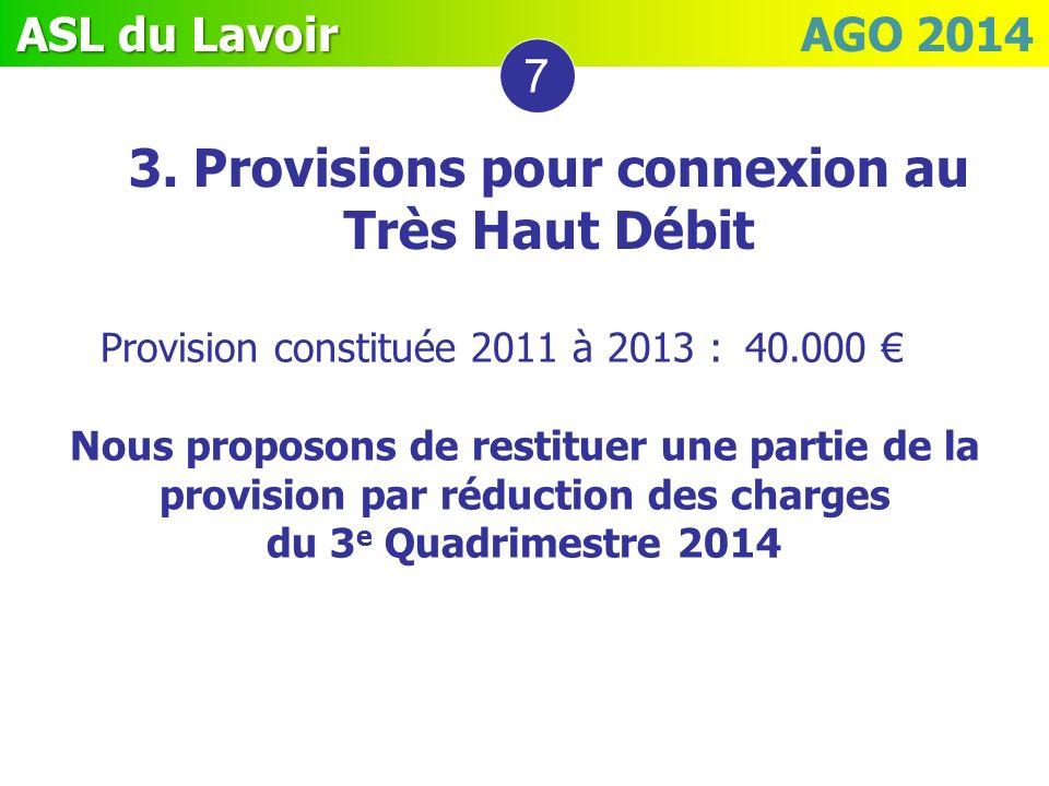 ASL du Lavoir ASL du Lavoir AGO 2014 7 Provision constituée 2011 à 2013 : 40.000 Nous proposons de restituer une partie de la provision par réduction