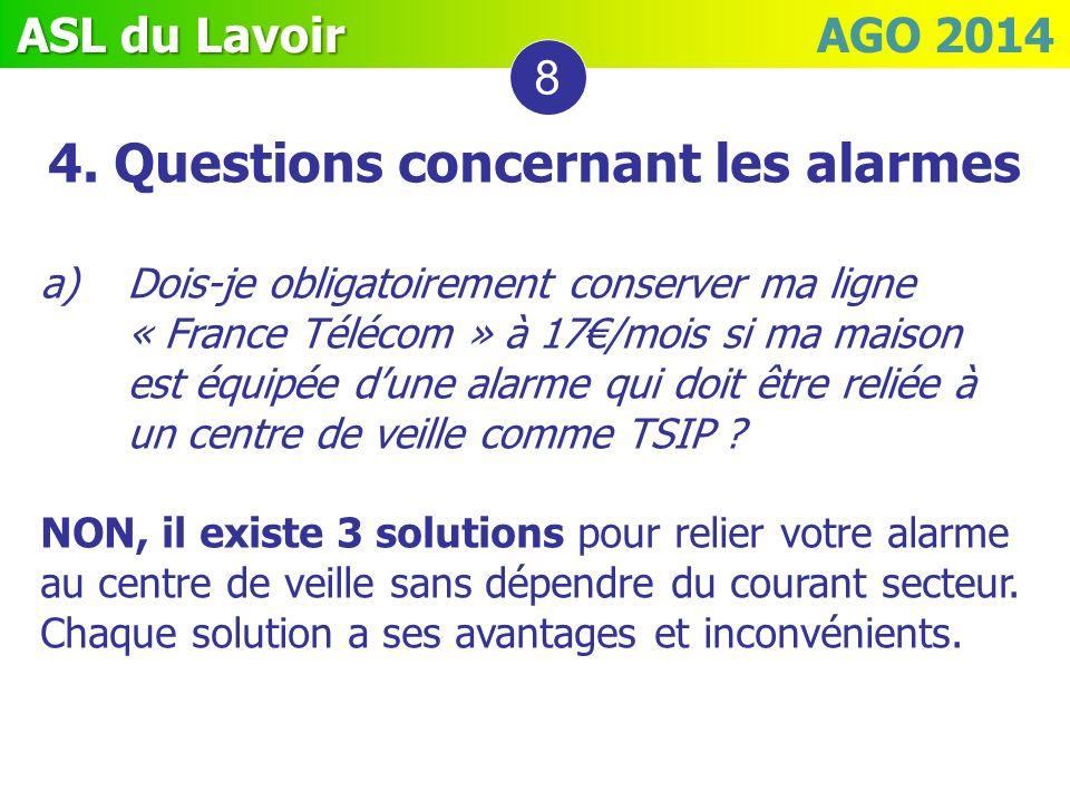 ASL du Lavoir ASL du Lavoir AGO 2014 4. Questions concernant les alarmes a)Dois-je obligatoirement conserver ma ligne « France Télécom » à 17/mois si