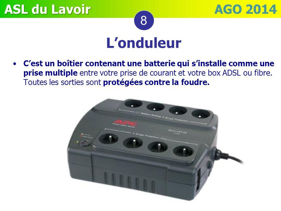 ASL du Lavoir ASL du Lavoir AGO 2014 Londuleur 8 Cest un boîtier contenant une batterie qui sinstalle comme une prise multiple entre votre prise de co