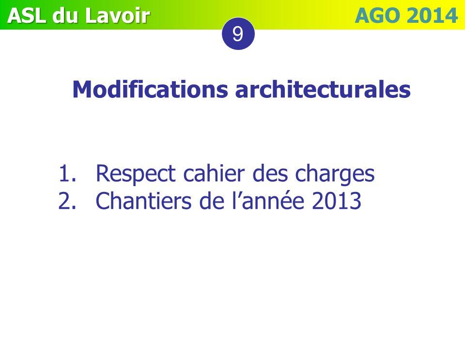 ASL du Lavoir ASL du Lavoir AGO 2014 9 Modifications architecturales 1.Respect cahier des charges 2.Chantiers de lannée 2013
