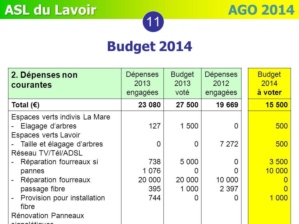 ASL du Lavoir ASL du Lavoir AGO 2014 2. Dépenses non courantes Dépenses 2013 engagées Budget 2013 voté Dépenses 2012 engagées Budget 2014 à voter Tota