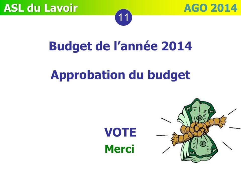ASL du Lavoir ASL du Lavoir AGO 2014 11 Budget de lannée 2014 Approbation du budget VOTE Merci