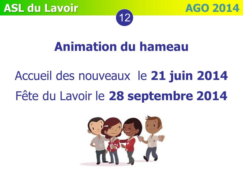 ASL du Lavoir ASL du Lavoir AGO 2014 12 Animation du hameau Accueil des nouveaux le 21 juin 2014 Fête du Lavoir le 28 septembre 2014