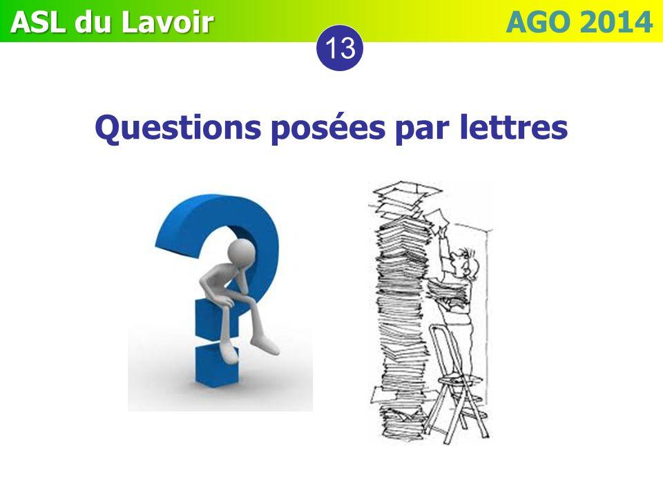 ASL du Lavoir ASL du Lavoir AGO 2014 13 Questions posées par lettres