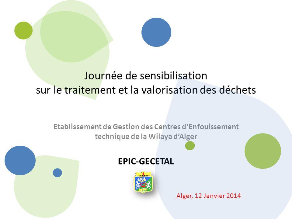 Journée de sensibilisation sur le traitement et la valorisation des déchets Etablissement de Gestion des Centres dEnfouissement technique de la Wilaya