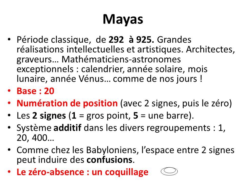 Mayas Période classique, de 292 à 925. Grandes réalisations intellectuelles et artistiques. Architectes, graveurs… Mathématiciens-astronomes exception