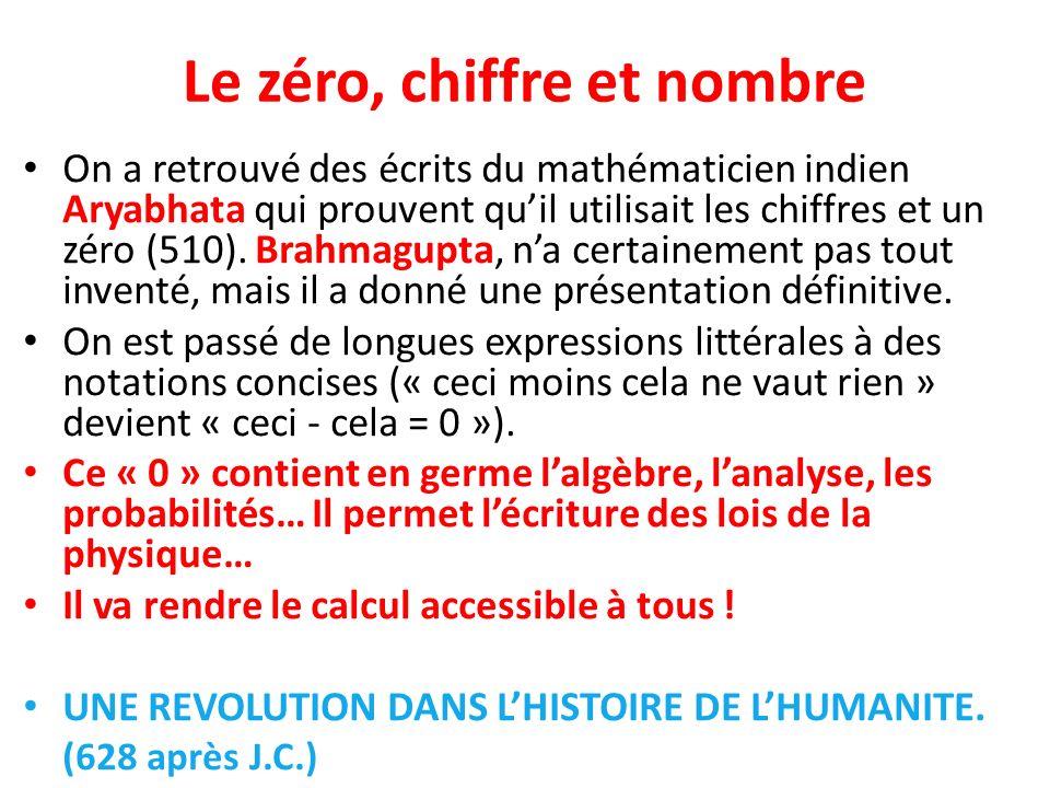 Le zéro, chiffre et nombre On a retrouvé des écrits du mathématicien indien Aryabhata qui prouvent quil utilisait les chiffres et un zéro (510). Brahm