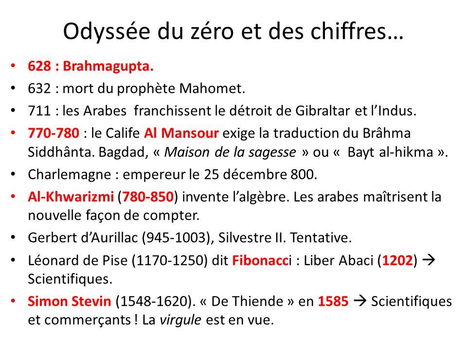 Odyssée du zéro et des chiffres… 628 : Brahmagupta. 632 : mort du prophète Mahomet. 711 : les Arabes franchissent le détroit de Gibraltar et lIndus. 7