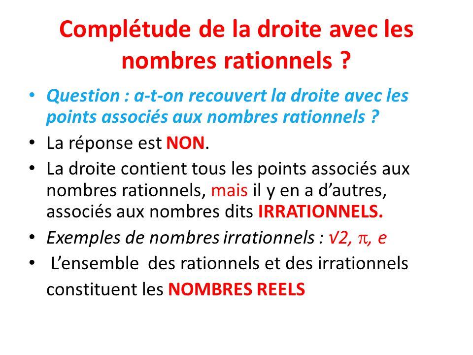 Complétude de la droite avec les nombres rationnels ? Question : a-t-on recouvert la droite avec les points associés aux nombres rationnels ? La répon
