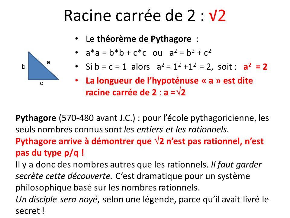 Racine carrée de 2 : 2 Le théorème de Pythagore : a*a = b*b + c*c ou a 2 = b 2 + c 2 Si b = c = 1 alors a 2 = 1 2 +1 2 = 2, soit : a 2 = 2 La longueur
