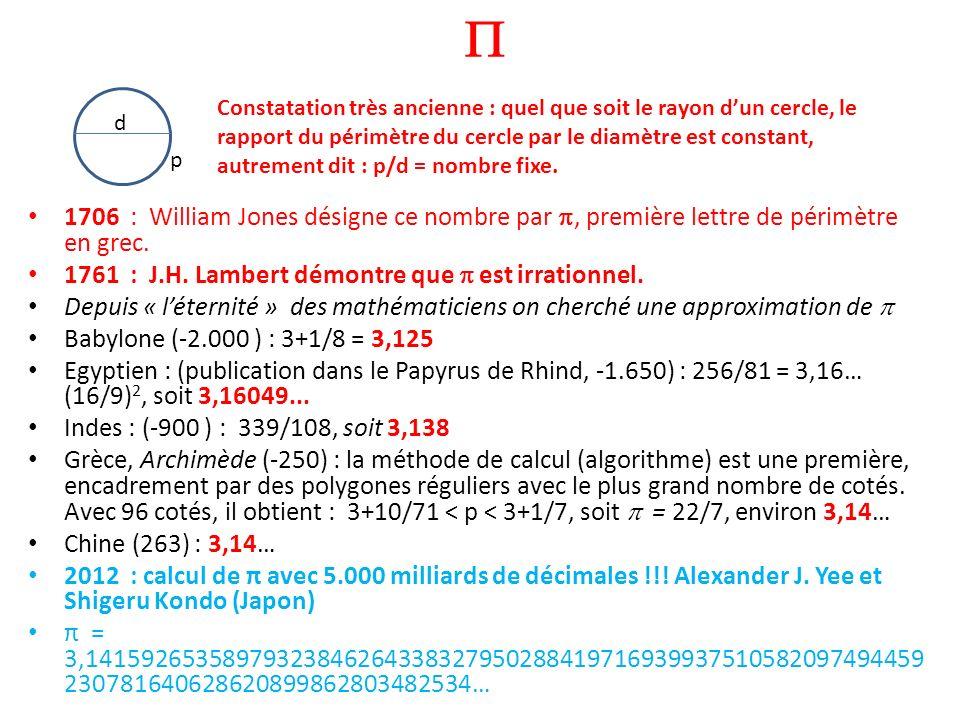 1706 : William Jones désigne ce nombre par, première lettre de périmètre en grec. 1761 : J.H. Lambert démontre que est irrationnel. Depuis « léternité