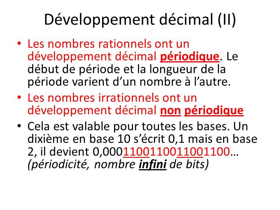 Développement décimal (II) Les nombres rationnels ont un développement décimal périodique. Le début de période et la longueur de la période varient du