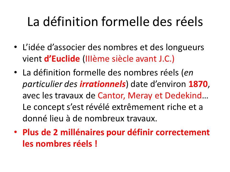 La définition formelle des réels Lidée dassocier des nombres et des longueurs vient dEuclide (IIIème siècle avant J.C.) La définition formelle des nom
