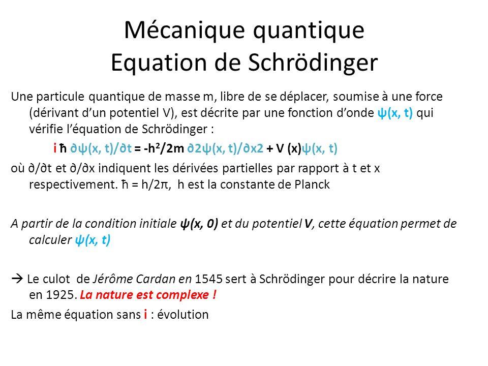 Mécanique quantique Equation de Schrödinger Une particule quantique de masse m, libre de se déplacer, soumise à une force (dérivant dun potentiel V),