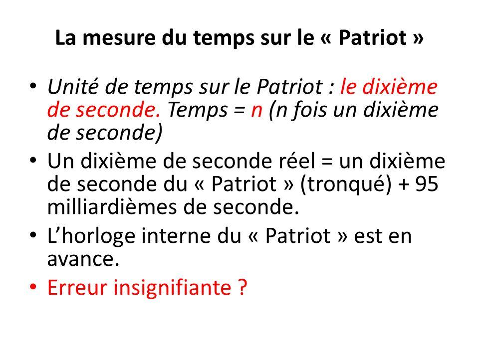 La mesure du temps sur le « Patriot » Unité de temps sur le Patriot : le dixième de seconde. Temps = n (n fois un dixième de seconde) Un dixième de se