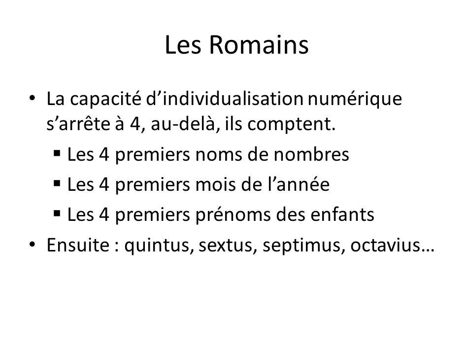 Les Romains La capacité dindividualisation numérique sarrête à 4, au-delà, ils comptent. Les 4 premiers noms de nombres Les 4 premiers mois de lannée
