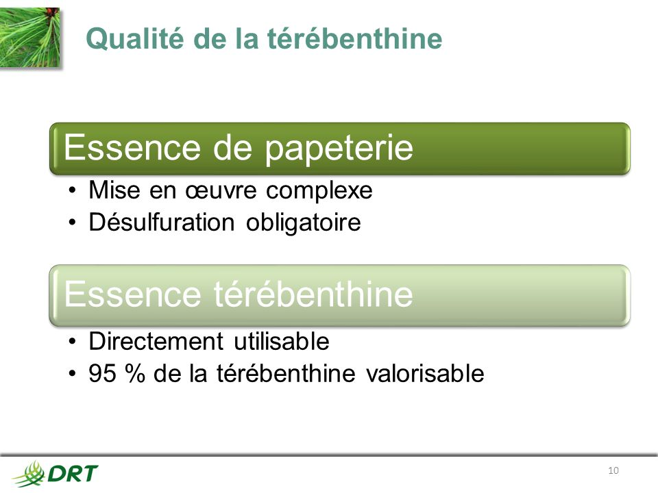 Qualité de la térébenthine Essence de papeterie Mise en œuvre complexe Désulfuration obligatoire Essence térébenthine Directement utilisable 95 % de l