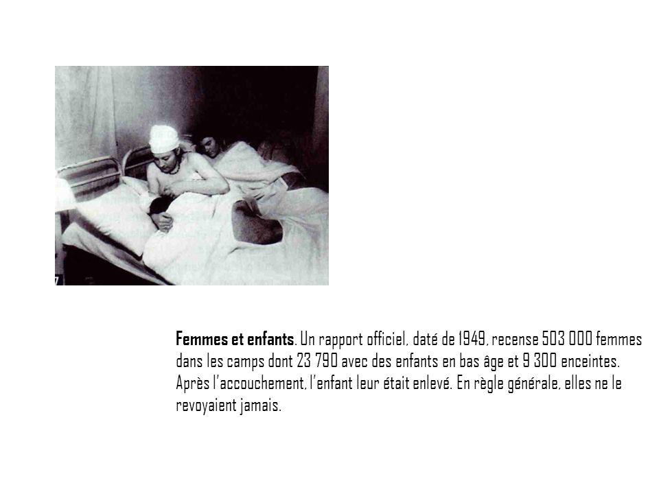 Femmes et enfants. Un rapport officiel, daté de 1949, recense 503 000 femmes dans les camps dont 23 790 avec des enfants en bas âge et 9 300 enceintes