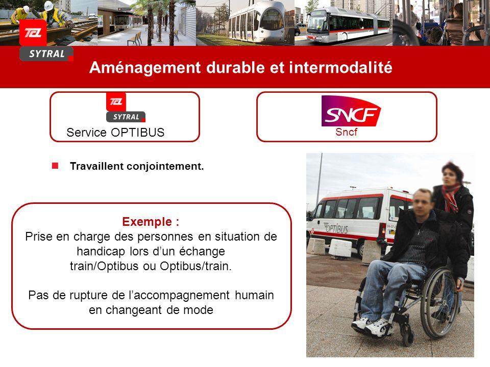 Aménagement durable et intermodalité Exemple : Prise en charge des personnes en situation de handicap lors dun échange train/Optibus ou Optibus/train.
