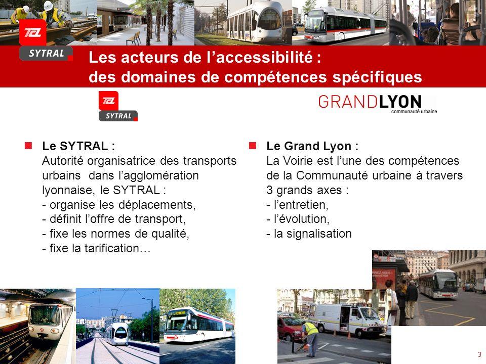 Les acteurs de laccessibilité : des domaines de compétences spécifiques 3 Le SYTRAL : Autorité organisatrice des transports urbains dans lagglomératio